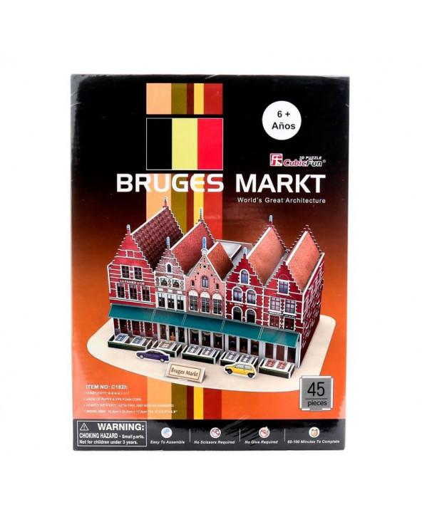 Cubic Fun Rompecabezas Bruges Markt C182H 45 piezas