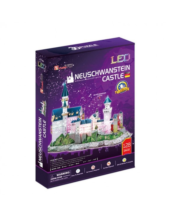 Cubic Fun Rompecabezas 3D Led Lighting Castillo de Neuschwanstein L174H 128 piezas