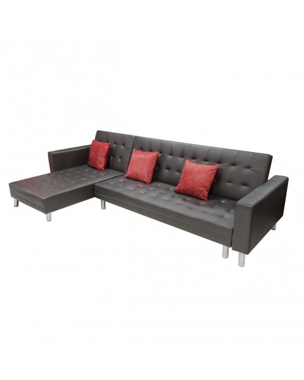 Familia seccional / sofa cama BE PU black