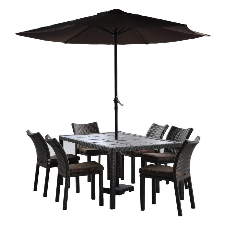 Familia set de comedor bistro mesa 6 sillas sombrilla for Mesa de comedor 6 sillas