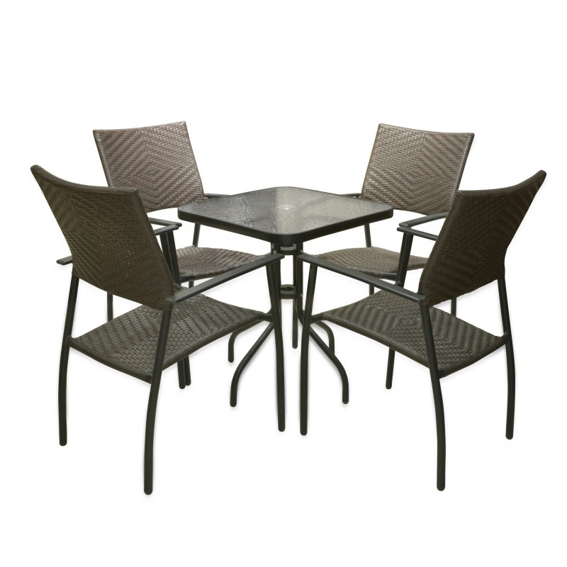 Sillas ratan silla modelo catoira silln de comedor de for Juego comedor terraza madera