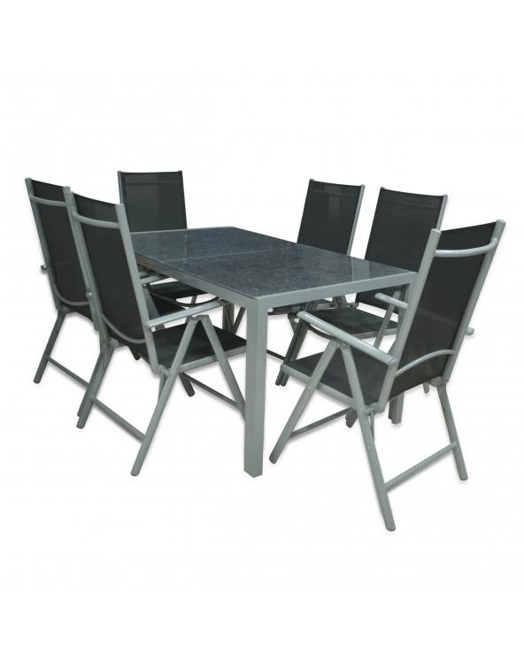 Familia juego de comedor Marbled mesa de vidrio + 6 sillas