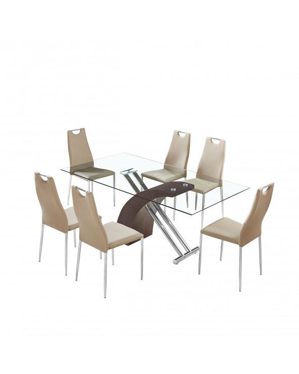 Familia comedor de vidrio TL-319F1 + 6 sillas TL-14A41PU Brown