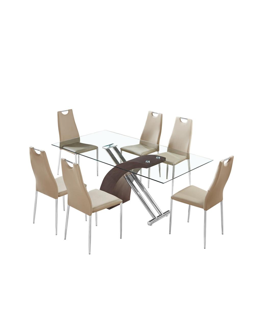 Familia comedor de vidrio tl 319f1 6 sillas tl 14a41pu brown for Comedor vidrio 6 sillas