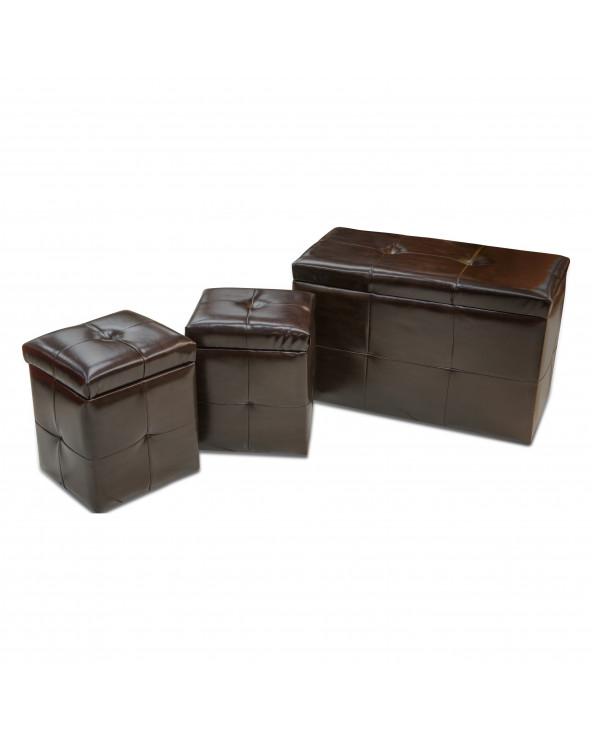 Familia set de puff lúdico 3SREOTPU13663 marron oscuro de 3 pzas.