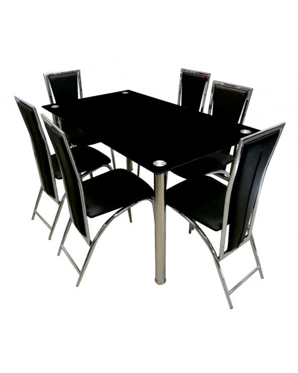Familia comedor vidrio + 6 sillas TL-DTC83