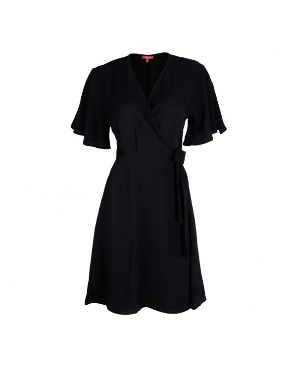 Sassafras Vestido Rita Cruzado Negro