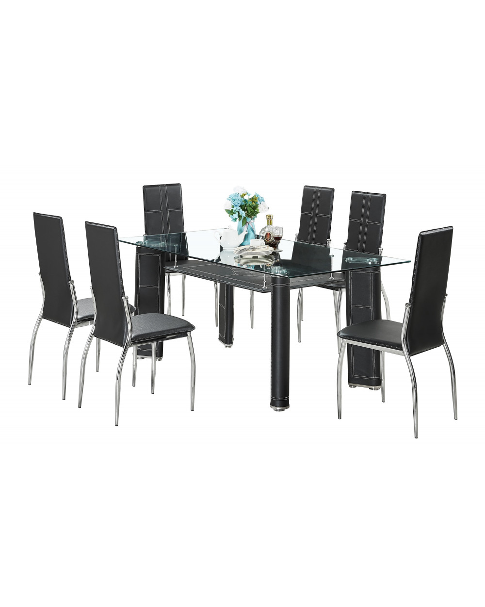 Familia comedor vidrio templado AD-DT145 + 6 sillas AD-355