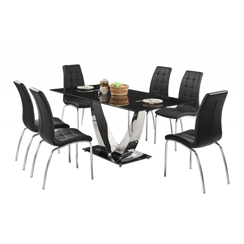Familia comedor de vidrio templado ad dt126 6 sillas ad for Comedor vidrio 6 sillas