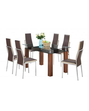 Familia comedor vidrio AD-RDT117B + 6 sillas brown y beige AD-YH005