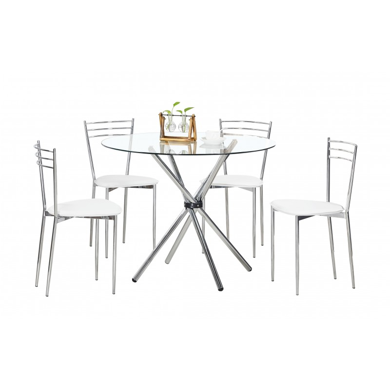 Familia comedor vidrio ad rdt061 4 sillas white ad nc28 for Juego de comedor lima