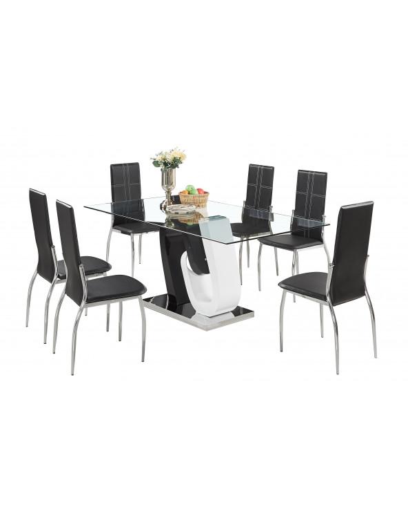 Familia comedor vidrio templado AD-15F10 + 6 sillas AD-355 black