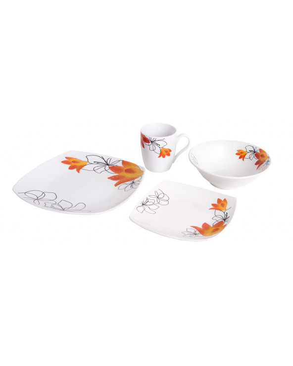 Familia Set Vajillas 16 Pz Square Flowers