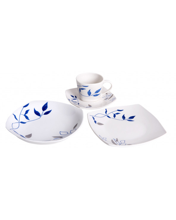 Familia Set Vajillas 20 Pz Square Flowers Blue