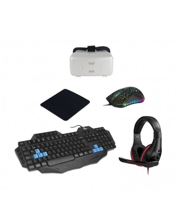 XTECH Combo Mouse + Audifono + Lentes + Teclado + Pad