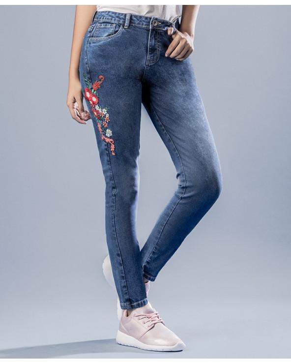 Q´Cool Jean Flowers Azul