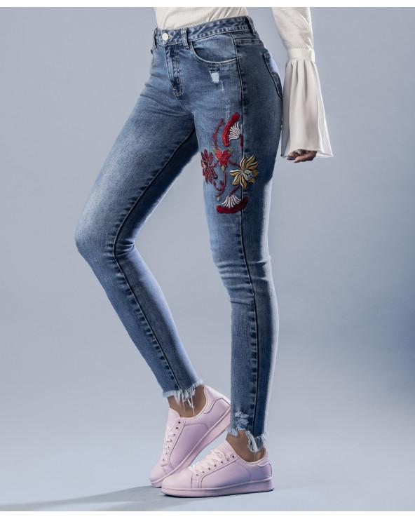 Priority Jeans Dama Rosas Azul