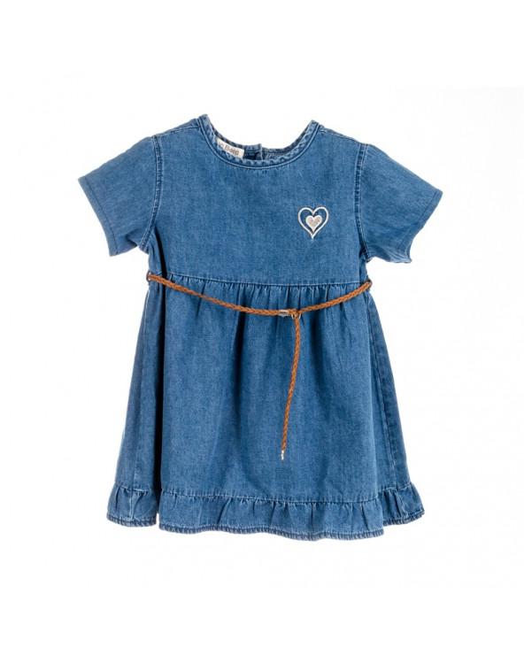 Beep-Beep Vestido Niña Chambray Peta Azul