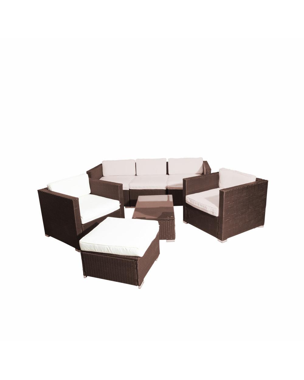 Familia Set Manhattan Sofa+2 Sillo+Ottoman+Mesa+Coji Rattan Black HIH-315