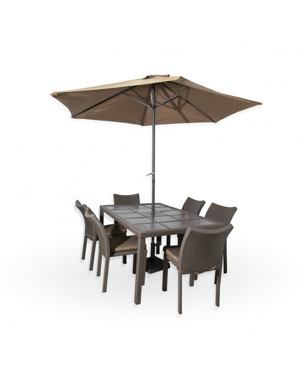 Familia set de comedor Bistro Mesa + 6 sillas + Sombrilla Rattan