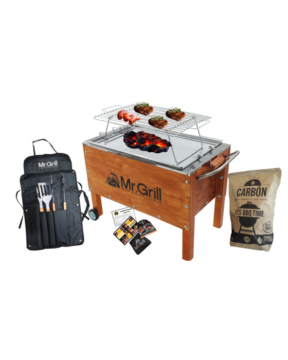 MR GRILL CAJA CHINA MED GALV+PARRILLA+MANDIL PARRILLERO BBQ X3+CARBON